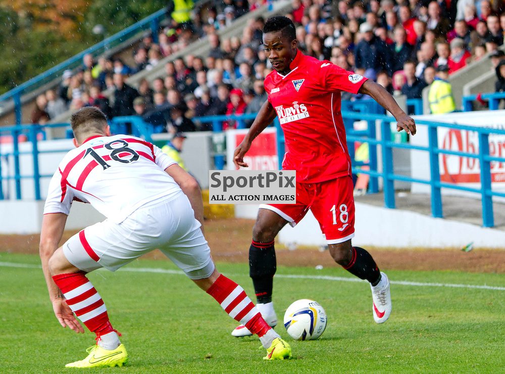 Stirling Albion v Dunfermline Athletic SPFL League One Forthbank Stadium 04 October 2014<br /> Sorel Chemin makes his DAFC debut<br /> CRAIG BROWN | sportPix.org.uk
