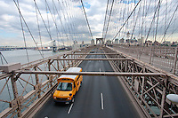 school bus on brooklyn bridge in New York City October 2008