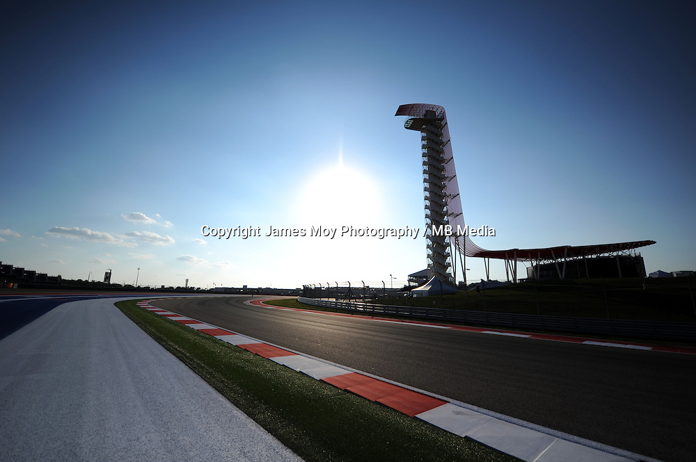 Circuit detail as the sun sets over the circuit.<br /> United States Grand Prix, Thursday 30th October 2014. Circuit of the Americas, Austin, Texas, USA.