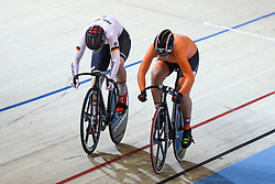 March 1, 2018 - Apeldoorn, Netherlands - Germany's Pauline Sophie Grabosch and Netherland's Shanne Braspennincx  compete Women's sprint Quarterfinals during UCI Track Cycling World Championships Apeldoorn 2018  in Apeldoorn, the Netherlands on 1st March 2018. The track cycling worlds take place from 28 February to 04 March. (Credit Image: © Foto Olimpik/NurPhoto via ZUMA Press)