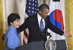 59613459 .U.S. President Barack Obama (R) shakes hands with visiting South Korean President Park Geun-hye during a joint press conference after their meetings in the East Room of the White House in Washington D.C., capital of the United States, May 7, 2013. Photo by:  imago / i-Images.UK ONLY