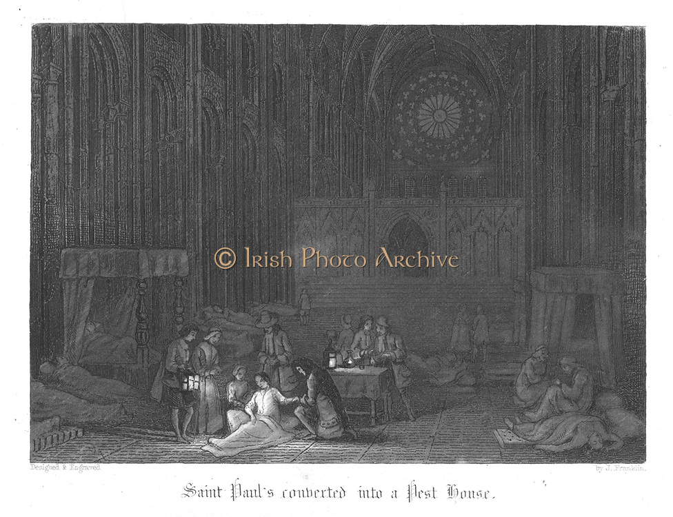Saint Paul's being used as a pest house during the Plague of London (1665). Illustration by John Franklin (active 1800-1861) for William Harrison Ainsworth 'Old Saint Paul's', London 1855 (first published 1841). Engraving.