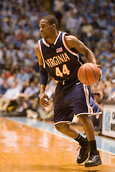 UVA point guard Sean Singletary (44) in action against UNC.  The #1 ranked Tar Heels beat the Cavaliers 79-69 to improved to 15-1 overall, 2-0 ACC on January 10, 2007 at the Dean Smith Center in Chapel Hill, NC.<br />