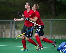 Southgate's Aedan McCrossan celebrates with Thaddeus Rivett. Southgate v Old Georgians - Men's Hockey League, East Conference, Trent Park, London, UK on 23September 2017. Photo: Simon Parker