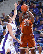 Texas forward Tiffany Jackson (33) puts up a shot over Kansas State's Shalee Lehning (5), during the first half at Bramlage Coliseum in Manhattan, Kansas, February 3, 2007.  Texas beat K-State 61-34.