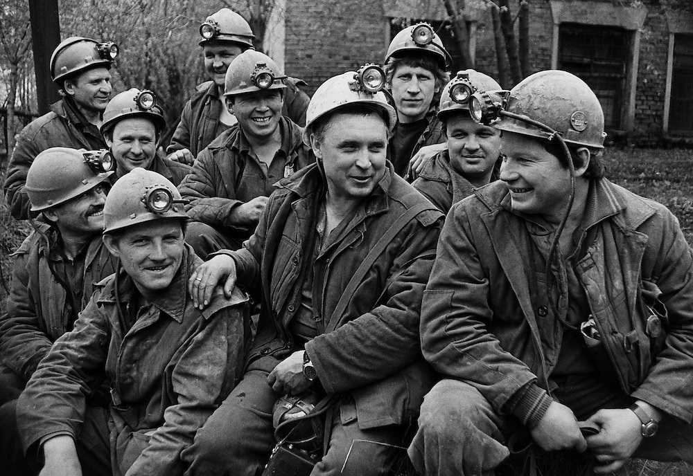 Soviet miners after their work in Prokopievsk, Kuzbass region, Eastern Siberia, 21 June 1984. B&W negative film 35mm.