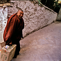 A monk walk back stage,  at the Hemis Festival in honor of Guru Padma Sambhav´s birth anniversary. at the Hemis Monastery, 40 km from Leh, India,  It also has the largest Thangkha in  Ladakh, which is unfurled, once in 12 years. July 2004.
