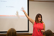 Lori Marchese lectures during her class on September 24, 2015. Photo by Emily Matthews