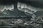 Curtain Aurora Borealis viewed in the Arctic Circle c1890.