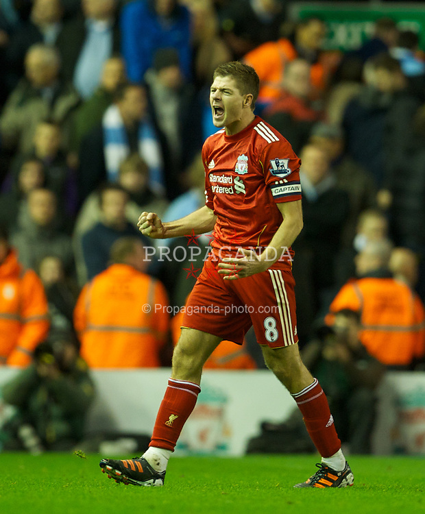 LIVERPOOL, ENGLAND - Wednesday, January 25, 2012: Liverpool's captain Steven Gerrard celebrates at the final whistle after his side's 3-2 aggregate victory over Manchester City during the Football League Cup Semi-Final 2nd Leg at Anfield. (Pic by David Rawcliffe/Propaganda)