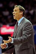 April 13, 2011; Cleveland, OH, USA; Washington Wizards head coach Flip Saunders yells to his players during the first quarter against the Cleveland Cavaliers at Quicken Loans Arena. Mandatory Credit: Jason Miller-US PRESSWIRE