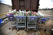 Discarded items from the floral department sit by the trash bin on the first day that a Kroger is re-opened in Orange, Texas, Thursday September 18, 2008.