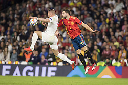October 15, 2018 - Seville, Spain - ROSS BARKLEY of England (L ) vies for the ball with NACHO of Spain (R ) during the UEFA Nations League Group A4 soccer match between Spain and England at the Benito Villamarin Stadium (Credit Image: © Daniel Gonzalez Acuna/ZUMA Wire)
