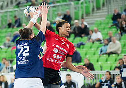Dragana Cvijic of Buducnost vs Allison Pineau of RK Krim  during handball match between RK Krim Mercator (SLO) and RK Buducnost (MNE) in Round #3 of Main Round of EHF Women's Champions League 2014/15, on February 13, 2015 in Arena Stozice, Ljubljana, Slovenia. Photo by Vid Ponikvar / Sportida