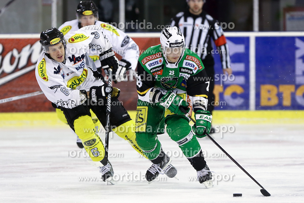 29.01.2013, Hala Tivoli, Ljubljana, SLO, EBEL, HDD Telemach Olimpija Ljubljana vs Dornbirner Eishockey Club, 4. Qualifikationsrunde, in picture Damjan Dervaric (HDD Telemach Olimpija, #23) and Jonathan D'Aversa (Dornbirner Eishockey Club, #6) during the Erste Bank Icehockey League 2nd Qualification Round match between HDD Telemach Olimpija Ljubljana and Dornbirner Eishockey Club at the Hala Tivoli, Ljubljana, Slovenia on 2013/01/29. (Photo By Matic Klansek Velej / Sportida)