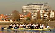 """Putney; Great Britain; Both crews passing the Crabtree Wharf  during the Oxford University Trial Eights; """"between """"""""Shirts and Skins"""". Shirt who went on the win [closest] the trial over the championship course Putney to Mortlake. 12/12/2007 [Mandatory Credit Peter Spurrier/Intersport Images]..OUBC Crews:.Shirts, Bow Robin EJSMOND-FREY, 2. Martin WALSH, 3. Ben SMITH, 4. Oliver MOORE, 5. Andrew WRIGHT, 6. Aaron MARCOVY, 7. Charles COLE, stroke Justin STANGEL and Cox Colin GROSHONG...Skins: Bow Paul KELLY, 2. James SOANE, 3. Michal PLOTKOWIAK, 4. Chris MORRIS, 5. Michael WHERLEY 6. Toby MEDARIS, 7.Jan HERZOG, stroke Will ENGLAND and cox Nick BRODIE,.. Varsity Boat Race, Rowing Course: River Thames, Championship course, Putney to Mortlake 4.25 Miles,"""