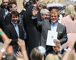 © Licensed to London News Pictures. 19/05/2018. London, UK.  Singers and musicians, JAMES BLUNT left) and ELTON JOHN attend the wedding of  Prince Harry, The Duke of Sussex and Meghan Markle, The Duchess of Sussex at  St George's Chapel in Windsor Castle. Photo credit: LNP