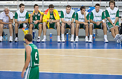 Slobodan Macura, Goran Dragic (11) of Slovenia, Jaka Lakovic (5) of Slovenia, Erazem Lorbek (15) of Slovenia, Uros Slokar (4) of Slovenia, Domen Lorbek (13) of Slovenia, Goran Jagodnik (12) of Slovenia and Matjaz Smodis (8) of Slovenia during the EuroBasket 2009 Group F match between Slovenia and Turkey, on September 16, 2009 in Arena Lodz, Hala Sportowa, Lodz, Poland.  (Photo by Vid Ponikvar / Sportida)