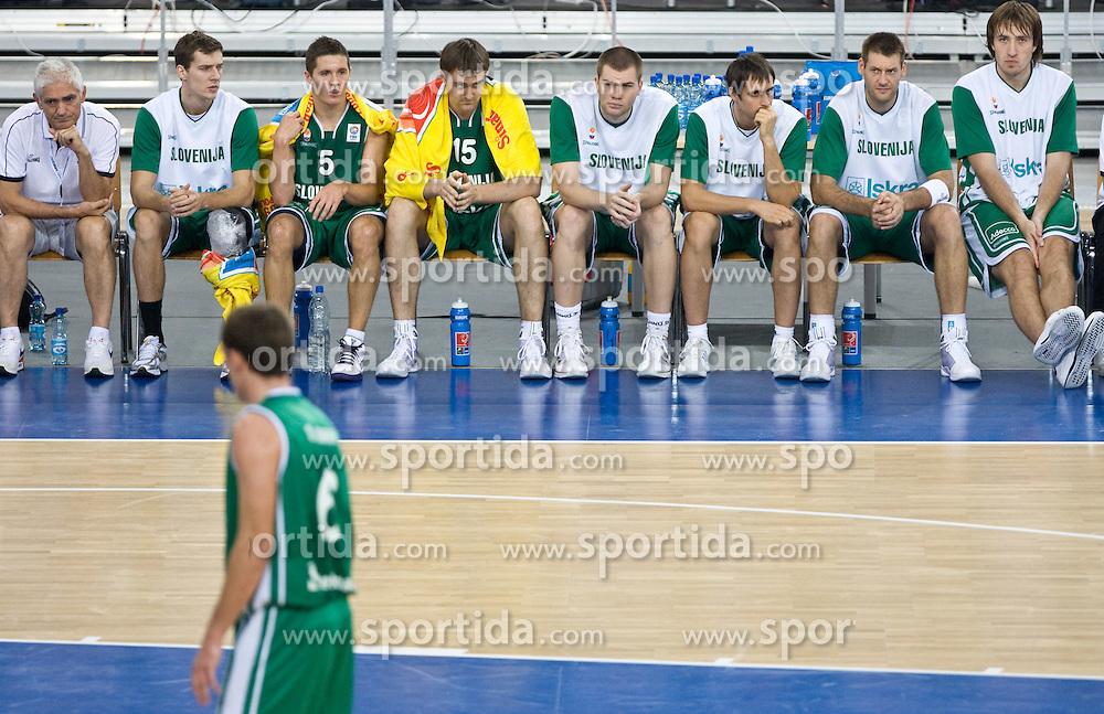 Slobodan Macura, Goran Dragic (11) of Slovenia, Jaka Lakovic (5) of Slovenia, Erazem Lorbek (15) of Slovenia, Uros Slokar (4) of Slovenia, Domen Lorbek (13) of Slovenia, Goran Jagodnik (12) of Slovenia and Matjaz Smodis (8) of Slovenia during the EuroBasket 2009 Group F match between Slovenia and Turkey, on September 16, 2009 in Arena Lodz, Hala Sportowa, Lodz, Poland.  (Photo by Vid Ponikvar / Sportida)