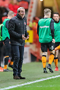 Charlton Athletic manager Lee Bowyer instructs his team during the EFL Sky Bet Championship match between Charlton Athletic and Hull City at The Valley, London, England on 13 December 2019.
