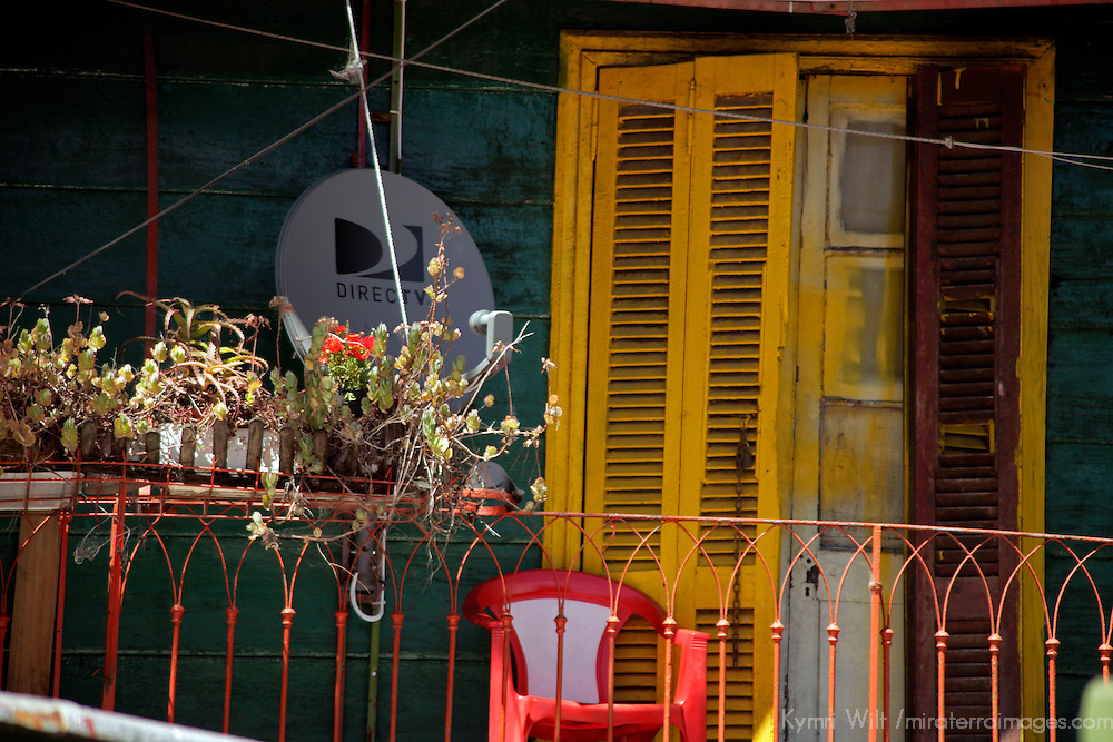 South America, Argentina, Buenos Aires. La Boca balcony and satellite dish.