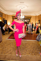Mary Lee from Gort at Hotel Meyrick on Ladies Day of the Galway Races, for a best dressed competition, sponsored by Brown Thomas Galway, hosted by RTE's  Republic of Telly Star Jennifer Maguire. Photo:Andrew Downes. Photo issued with Compliments, no reproduction fee on first publication.