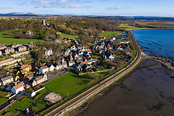 Aerial view of historic village of Culross in Fife, Scotland, UK