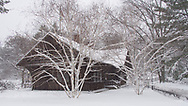 The Swedish Cottage in Central Park after a snow storm.