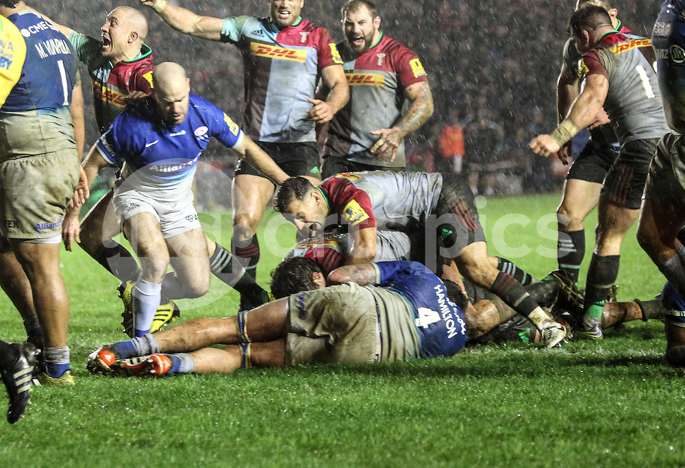 James Horwill of Harlequins scores the decisive try during the Aviva Premiership match between Harlequins and Saracens at Twickenham Stadium, Twickenham, United Kingdom on 9 January 2016. Photo by Ken Sparks.
