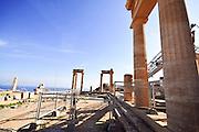 Greece, Rhodes, Lindos Acropolis, columns of the Athena Lindia Temple, 4th century BCE