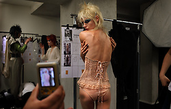 Backstage at the Jean Paul Gaultier Spring/Summer 2011, Ready-to-Wear show during Fashion Week in Paris, France on Oct. 2, 2010. <br /> The theme was based around the stylings of Rock and Roll and the singer Joan Jett.