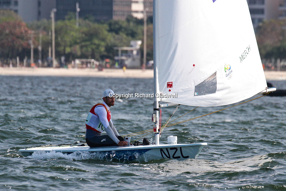 Sam Meech (NZL)  on the first downwind of the Medla race in the Mens Laser - 2016 Olympic sailing Regatta.<br /> 16 August 2016.<br /> Copyright photo: Richard Gladwell / www.photosport.nz