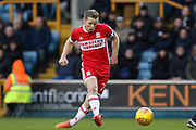 Middlesbrough midfielder Grant Leadbitter (7) shoots at goal during the EFL Sky Bet Championship match between Millwall and Middlesbrough at The Den, London, England on 16 December 2017. Photo by Phil Duncan.