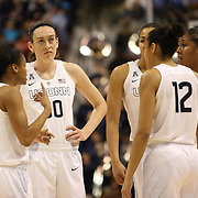 Breanna Stewart, UConn, with teammates during the UConn Vs Cincinnati Quarterfinal Basketball game at the American Women's College Basketball Championships 2015 at Mohegan Sun Arena, Uncasville, Connecticut, USA. 7th March 2015. Photo Tim Clayton