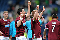 Football - Scottish Cup Semi-Final - Celtic vs. Heart of Midlothian<br /> Hearts players celebrate at the end of the game at Hampden Park.
