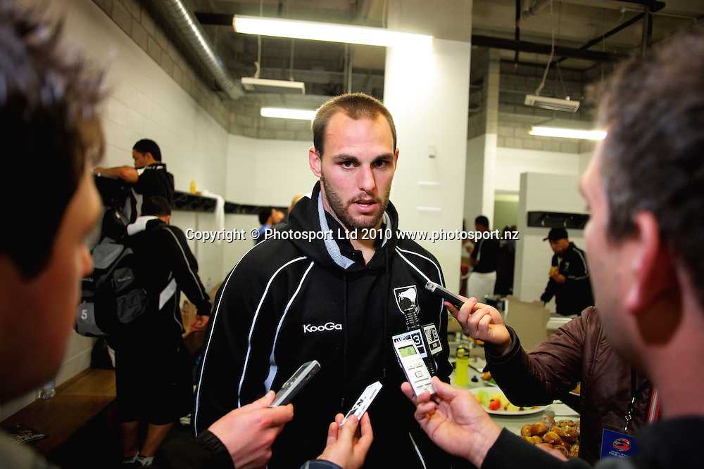 NZ's Simon Mannering is interviewed after the game. Four Nations Rugby League - New Zealand Kiwis v England at Westpac Stadium, Wellington, New Zealand on Saturday, 23 October 2010. Photo: Dave Lintott / photosport.co.nz