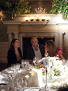 ALEXANDRA SHULMAN; SIR PHILIP GREEN; HEATHER KERZNER, Dinner to mark 50 years with Vogue for David Bailey, hosted by Alexandra Shulman. Claridge's. London. 11 May 2010 *** Local Caption *** -DO NOT ARCHIVE-© Copyright Photograph by Dafydd Jones. 248 Clapham Rd. London SW9 0PZ. Tel 0207 820 0771. www.dafjones.com.<br /> ALEXANDRA SHULMAN; SIR PHILIP GREEN; HEATHER KERZNER, Dinner to mark 50 years with Vogue for David Bailey, hosted by Alexandra Shulman. Claridge's. London. 11 May 2010