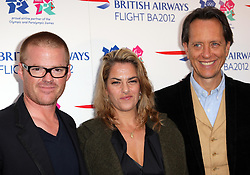 Heston Blumenthal,Tracey Emin  and Richard E Grant at the launch of the Flight BA2012 pop up restaurant in London, Tuesday 3rd April 2012.  Photo by: Stephen Lock / i-Images