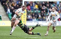 Jamie Roberts of Harlequins is tackled by George Pisi of Northampton Saints - Mandatory by-line: Robbie Stephenson/JMP - 27/03/2016 - RUGBY - Franklin's Gardens - Northampton, England - Northampton Saints v Harlequins - Aviva Premiership