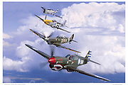 Four Warbirds in formation