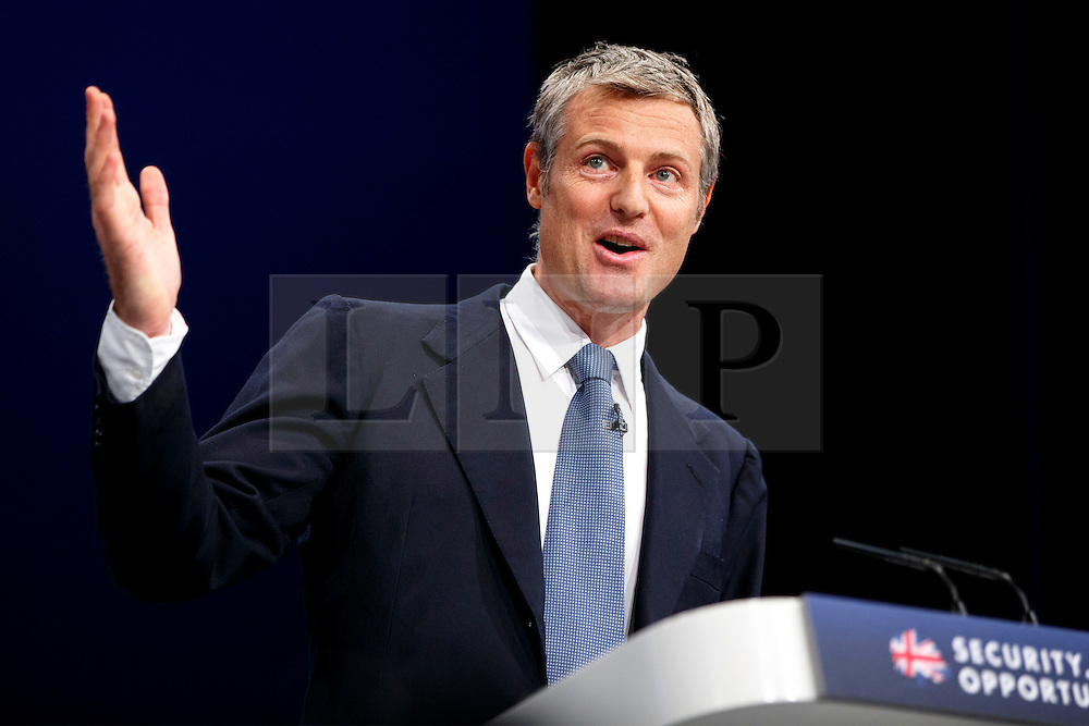 © Licensed to London News Pictures. 06/10/2015. Manchester, UK. Conservative's London Mayor candidate ZAC GOLDSMITH speaking at Conservative Party Conference at Manchester Central convention centre on Tuesday, 6 October 2015. Photo credit: Tolga Akmen/LNP