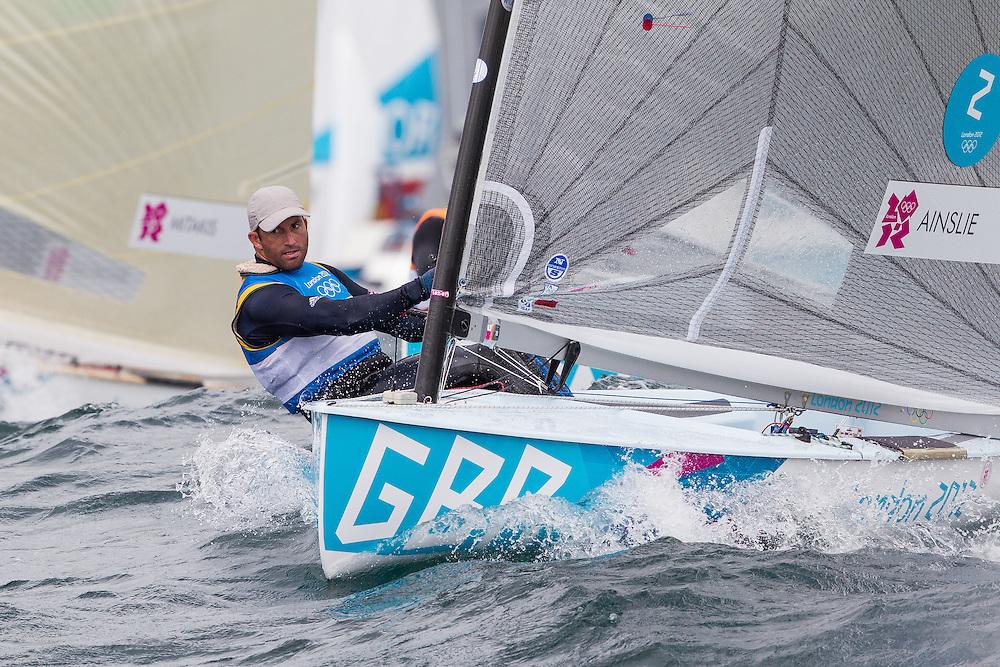 ENGLAND, Weymouth. 2nd August 2012. Olympic Games. Finn class. Ben Ainslie (GBR).