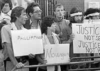 Protesters outside the Garden Of Remembrance, Dublin, During American Vice President George H W Bush's Visit, 05/07/1983 (Part of the Independent newspapers Ireland/NLI Collection).