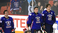 Mitja Robar of Slovenia, Goalkeeper of Slovenia Andrej Hocevar and Anze Kopitar of Slovenia after  ice-hockey game Slovenia vs Slovakia at second game in  Relegation  Round (group G) of IIHF WC 2008 in Halifax, on May 10, 2008 in Metro Center, Halifax, Nova Scotia, Canada. Slovakia won after penalty shots 4:3.  (Photo by Vid Ponikvar / Sportal Images)