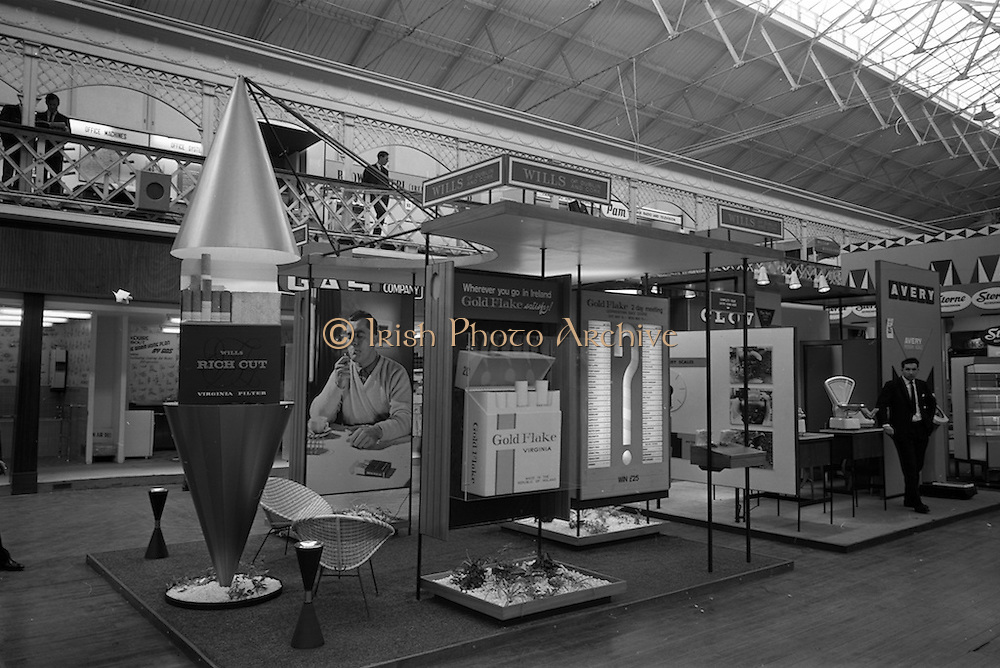 09/05/1964<br /> 05/09/1964<br /> 09 May 1964<br /> Wills Tobacco stand at the R.D.S. Spring Show advertising the Gold Flake and Rich Cut brands.