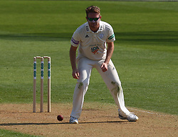April 20, 2018 - London, Greater London, United Kingdom - Liam Dawson of Hampshire ccc  .during Specsavers County Championship - Division One, day one match between Surrey CCC and Hampshire CCC at Kia Oval, London, England on 20 April 2018. (Credit Image: © Kieran Galvin/NurPhoto via ZUMA Press)