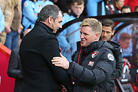 Football - 2016 / 2017 Premier League - AFC Bournemouth vs. Swansea City<br /> <br /> Bournemouth's Manager Eddie Howe welcomes Swansea City Manager Paul Clement before kick off at the Vitality Stadium (Dean Court) Bournemouth<br /> <br /> COLORSPORT/SHAUN BOGGUST