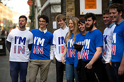 "© Licensed to London News Pictures. 12/10/2015. London, UK.  Britain Stronger in Europe campaigners wearing ""IM IN"" t-shirts welcome guests to the event. The launch of the Britain Stronger in Europe campaign at the Truman Building in London. The campaign is being by led by Former M&S chairman, Lord Stuart Rose. Photo credit: Ben Cawthra/LNP"