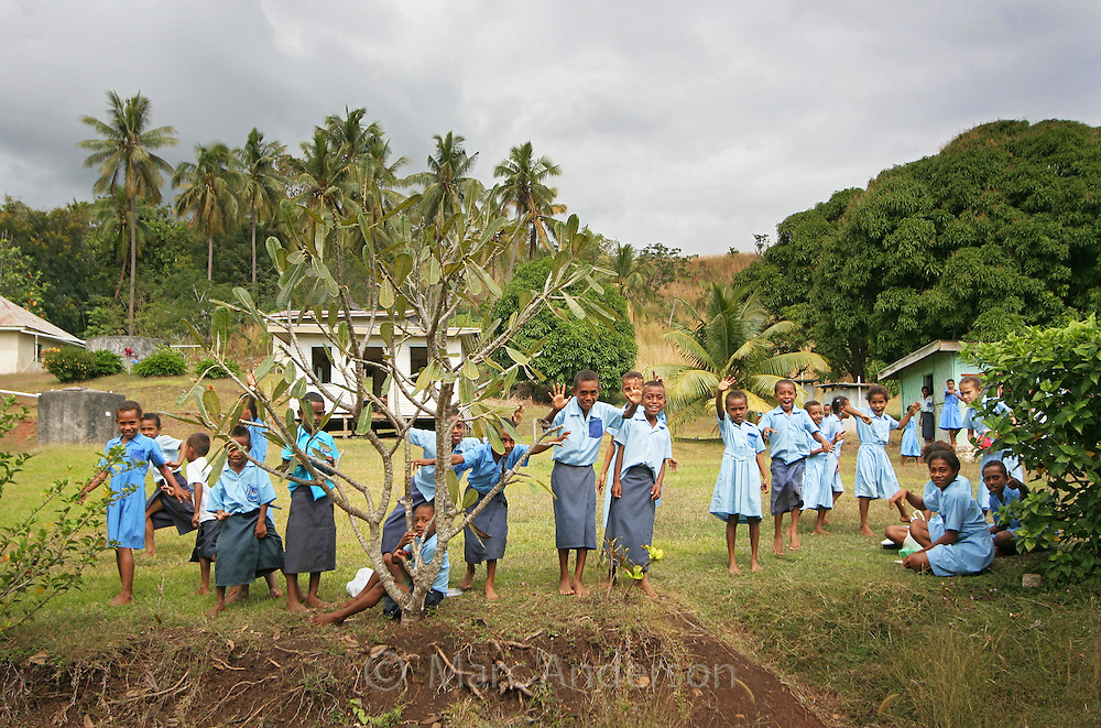 School children playing at a school in Fiji