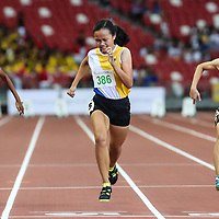 Jade Chew (#386) of Nanyang Girls' High wins the C Division girls' 100m final. Samantha Theresa Ortega (#87) and Thaarani D/O Sivakumar (#91) of Singapore Sports School finished second and third. (Photo © Lim Yong Teck/Red Sports)